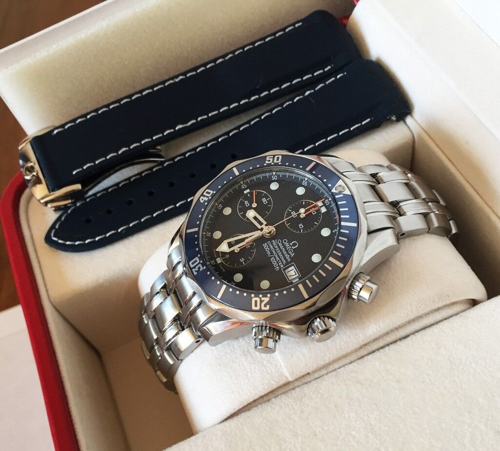 Omega Seamaster Chronograph Diver 2599 80 00 Box Papers Original Steel Bracelet Rubber