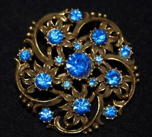 Vintage-Coro-Blue-Rhinestone-Flower-Convex-Round-Pin