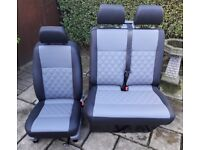 VW TRANSPORTER T5 BLACK & MID GREY FULL LEATHER FRONT SEATS Double Bentley stitch, new interior