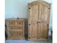 Mexican Pine Bedroom Furniture (bedside cabinet & wardrobe)