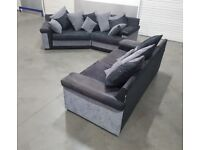 SCS Grey/Black Fabric L-Shape Corner Sofa + 3 Seater Sofa Set