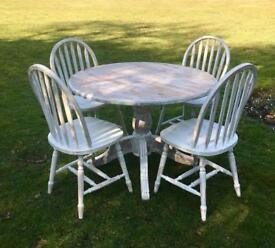 Painted Gustavian table and 4 chairs vintage, shabby chic