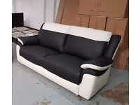 ScS LEO BLACK & WHITE LEATHER 3 SEATER SOFA **CAN DELIVER**
