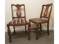 Set of 2 dining chairs bedroom chairs carved vintage solid wood chairs FREE DELIVERY WITHIN LE3