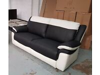 ScS LEO BLACK & WHITE LEATHER 3 SEATER SOFA RRP £999 **CAN DELIVER**