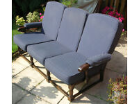 Sofa, 3 seat retro cottage style with oak frame and medium blue cushions, excellent
