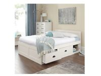 Double wooden bed frame white