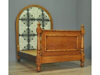 Attractive Large Antique Victorian Ornate Satinwood Upholstered Bed