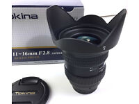 Super sharp boxed Tokina 11-16mm, F2.8 Ultra Wide Zoom Lens Nikon Fit great for weddings