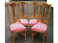 Set of four vintage oak dining chairs