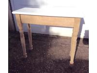 PRETTY GENUINE ANTIQUE SOLID OAK SIDE HALL CONSOLE TABLE. WAXED & PAINTED TOP.