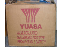 2 x Yuasa valve controlled rechargeable Sealed Lead-Acid Battery for cars or backups; working order