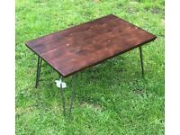 Beautifully crafted Charred Coffee Table with Hairpin Legs
