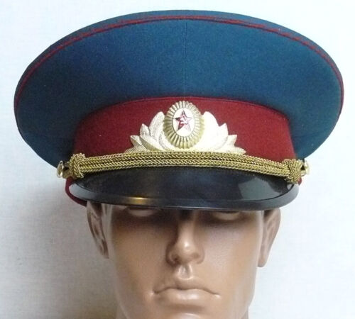 Visor Parade Cap Russian Soviet Officer Hat  Badge Military Uniform M Size 56
