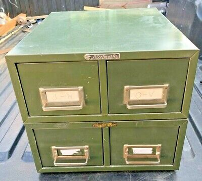 Lot Of 2 Vtg Steelmaster Two Drawer Stackable Metal File Cabinet Storage Green
