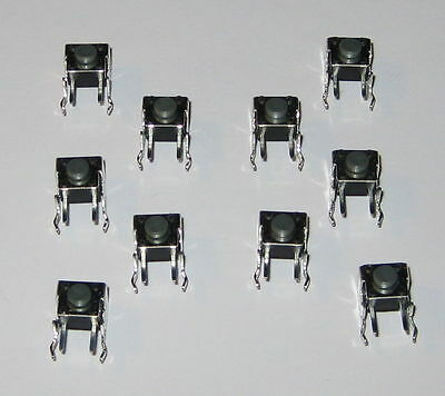 10 X Momentary Pushbutton Micro Switches - Right Angle Pc Board Mount - Pacer