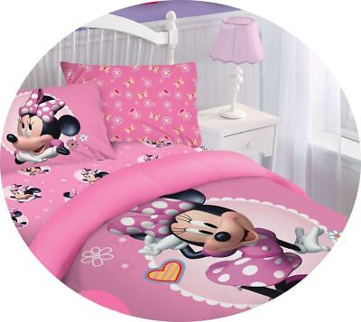 Disney Comforter Sets (PINK MINNIE MOUSE BED SOFT COMFORTER SET DISNEY MOVIE CARTOONS COLLECTION)