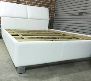 Queen size white PU leather bed frame for sale Auburn Auburn Area Preview