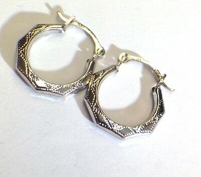 "NEW | Ornate 1/2"" Solid 14K White Gold Hinged  Hoop Earrings"