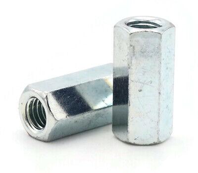 Metric Coupling Nuts DIN6334 Zinc Plated Steel Rod Coupling Hex Nuts - M6 - - Metric Coupling Nuts
