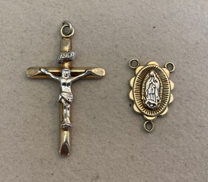 Gold Over Sterling Silver 925 Rosary Center Piece W/ Cruxifix