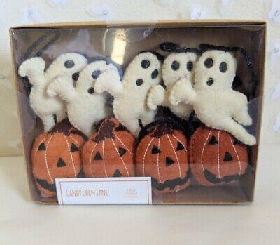 NEW Candy Corn Lane Rustic Felt Ghost Pumpkin Halloween Garland Farmhouse 6'
