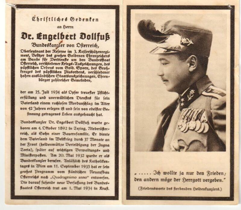 Engelbert Dollfuss Austria Official Death Card Notice Original from 1934