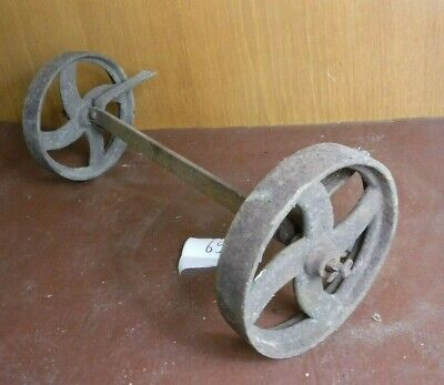 Vintage Cast Iron Wheels with Axle (651P)