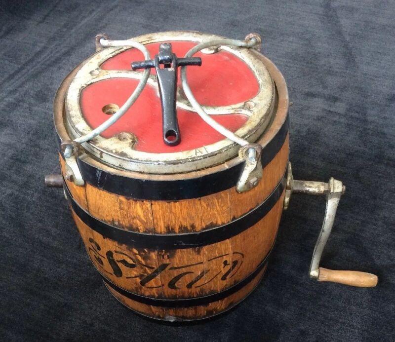 """Butter Churn Antique """"Star"""" Iron-bound Oak Barrel"""