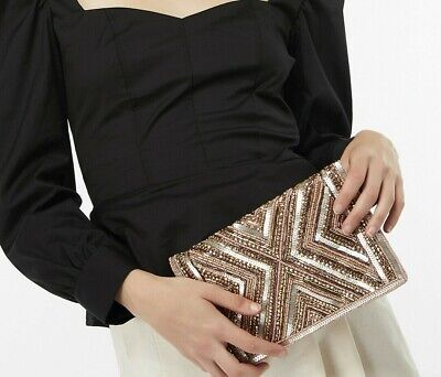 BNWT Accesorize Monsoon CLEO BEADED FOLD OVER CLUTCH BAG evening shoulder chain  Beaded Fold Over Clutch