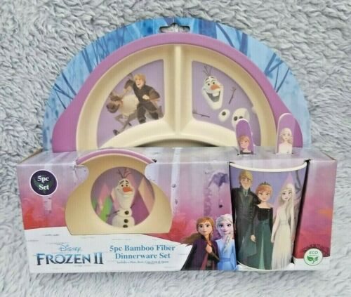 DISNEY Frozen 5 pc Bamboo Fiber Kids Dinnerware Set Elsa Anna Olaf Kristoff  NEW