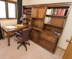 Executive office L Desk unit :Hutch & roll out desk