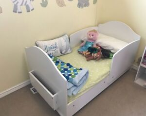 Toddler bed with bamboo mattress.