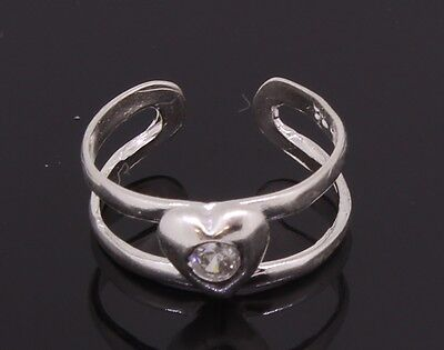 Heart Shaped Toe Ring Adjustable With A CZ stone