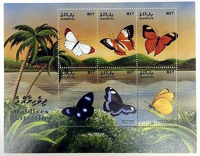 1999 MALDIVES BUTTERFLY STAMPS SHEET OF 6 BUTTERFLIES INSECT MOTH PALM TREE