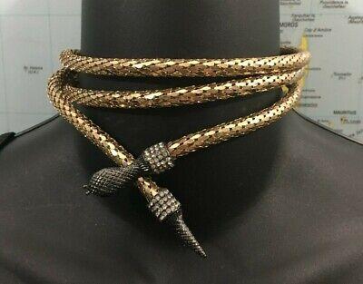 Betsey Johnson Jewelry Pendant Rhinestone Gold Tone Snake necklace 40