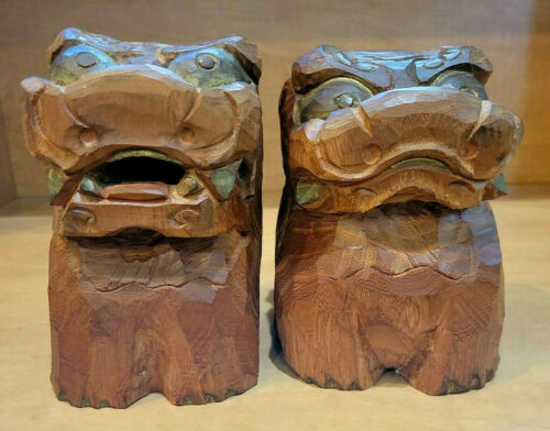 Carved Wood Foo Dogs
