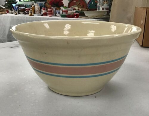 LARGE McCoy Pottery #12 Ovenware Mixing Bowl Pink Blue Striped - MADE IN USA