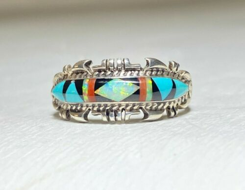 Zuni ring lab opal turquoise sterling silver band women men size 10.25