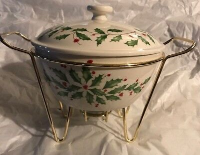 Lenox Dimensions Collection Holiday Chafing Warming Dish with Lid 1 qt