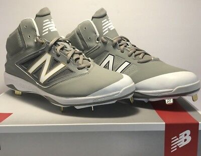 55ad714803d974 New Balance Mens Size 12 Mid Metal Baseball Cleats Gray White Gold