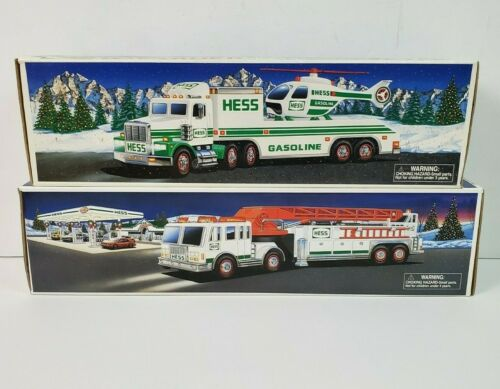 Lot of 2 Hess Toy Trucks 2000 Fire Truck 1995 Toy Truck and Helicopter w/ Lights