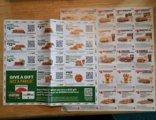Burger King Subway Coupon Sheets Exp. 06/11 And 07/04 - $1.50