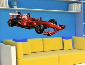 wall stickers formula 1 ferrari racing car kids bedroom childrens decor sticker ebay. Black Bedroom Furniture Sets. Home Design Ideas