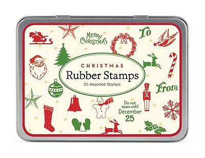 CAVALLINI & CO. 20 ASSTD. MINI CHRISTMAS WOODEN RUBBER STAMPS WITH STORAGE TIN