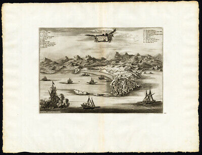 Rare Antique Print-JIJEL-DJIDJELLI-AFRICA-SHIP-ALGERIA-Pieter van der Aa-1725