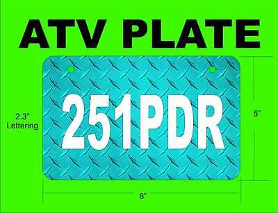 Atv License Plate Diamond Plate Personalized With Your Information Aluminum 1
