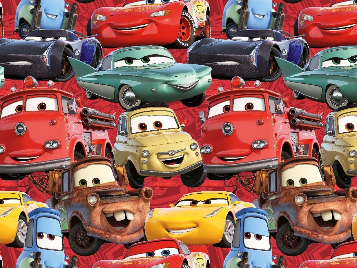 Jersey Cars 3 allover rot Disney Kinderstoff