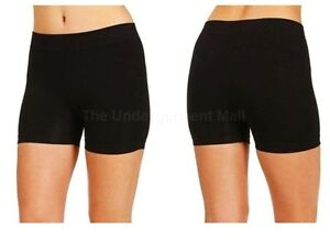 LADIES BASIC STRETCH SEAMLESS BLACK ATHLETIC SHORTS SPANDEX LEGGINGS XS S M L