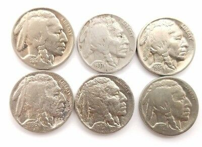 Unknown Buffalo - Lot of 6 Buffalo Indian Head Nickels Dated 1929-1937-Unknown